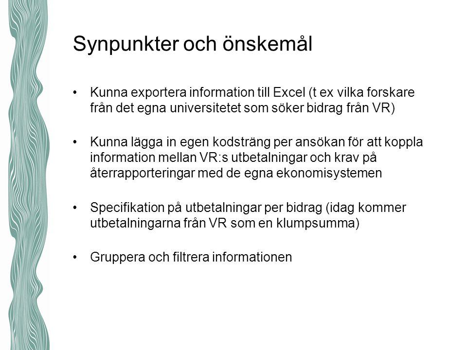Synpunkter och önskemål Kunna exportera information till Excel (t ex vilka forskare från det egna universitetet som söker bidrag från VR) Kunna lägga