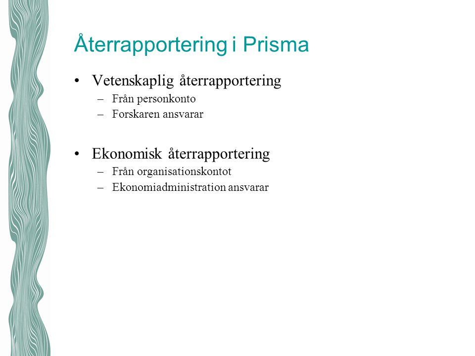Återrapportering i Prisma Vetenskaplig återrapportering –Från personkonto –Forskaren ansvarar Ekonomisk återrapportering –Från organisationskontot –Ek