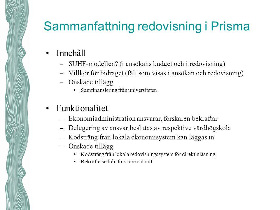 Sammanfattning redovisning i Prisma Innehåll –SUHF-modellen? (i ansökans budget och i redovisning) –Villkor för bidraget (fält som visas i ansökan och