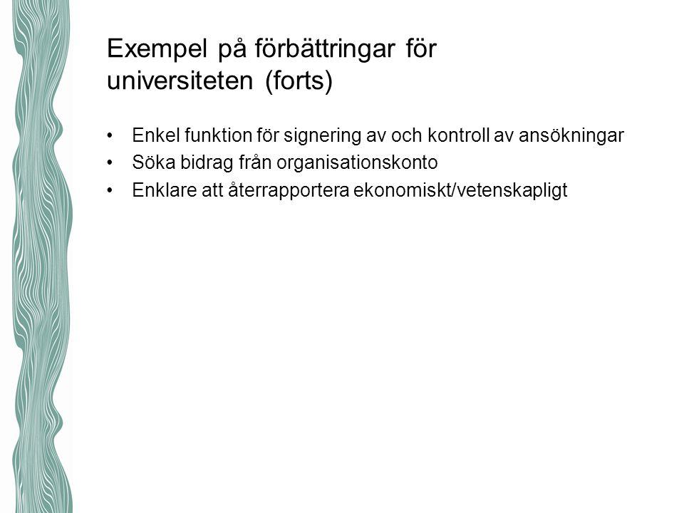 Exempel på förbättringar för universiteten (forts) Enkel funktion för signering av och kontroll av ansökningar Söka bidrag från organisationskonto Enk