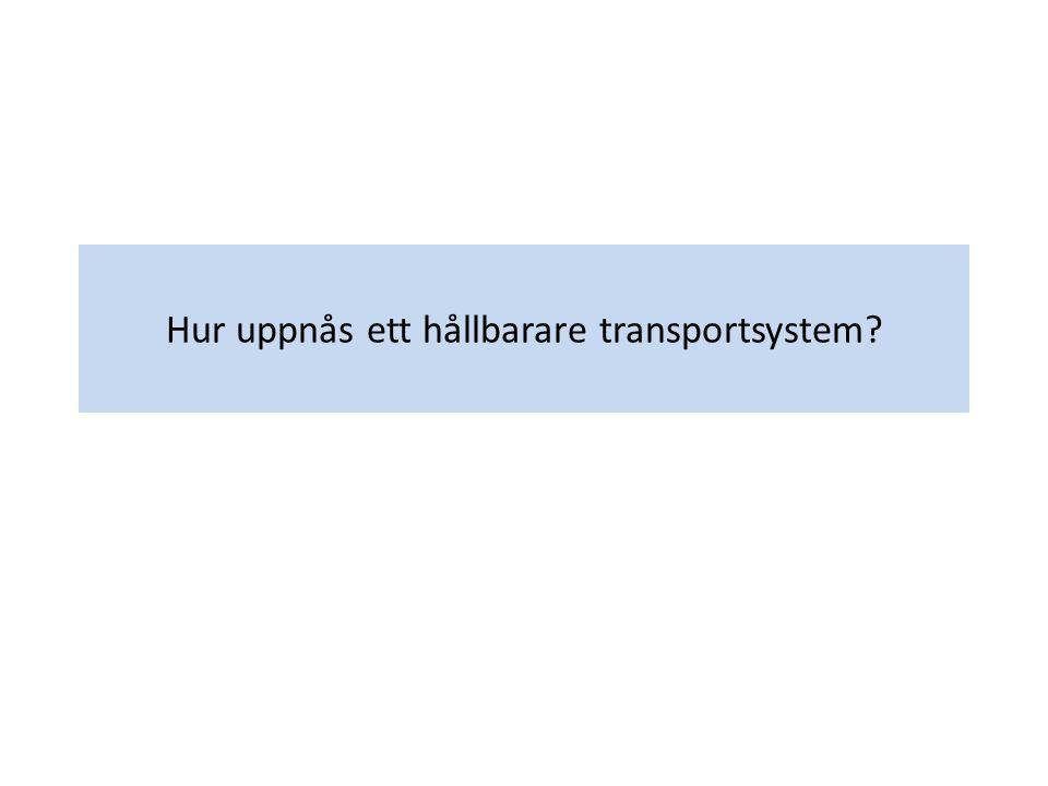 Ekonomisk verksamhetTransportsystemMiljöpåverkan IndikatorBNPFordonskm/trparbeteUtsläpp.