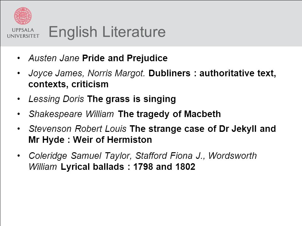 English Literature Austen Jane Pride and Prejudice Joyce James, Norris Margot. Dubliners : authoritative text, contexts, criticism Lessing Doris The g