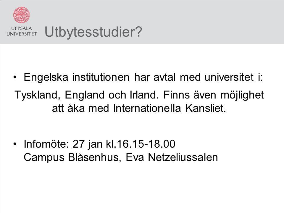 Utbytesstudier. Engelska institutionen har avtal med universitet i: Tyskland, England och Irland.