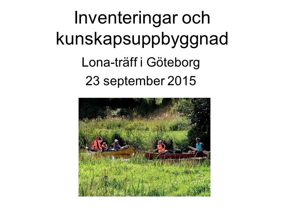 Inventeringar och kunskapsuppbyggnad Lona-träff i Göteborg 23 september 2015
