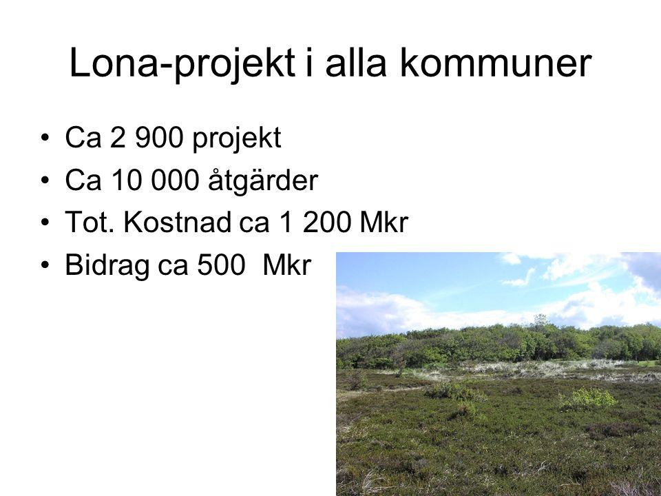 Lona-projekt i alla kommuner Ca 2 900 projekt Ca 10 000 åtgärder Tot.