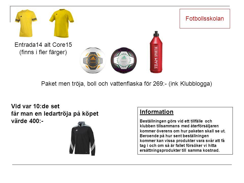 Fotbollsskolan Paket men tröja, boll och vattenflaska för 269:- (ink Klubblogga) Information Beställningen görs vid ett tillfälle och klubben tillsammans med återförsäljaren kommer överens om hur paketen skall se ut.