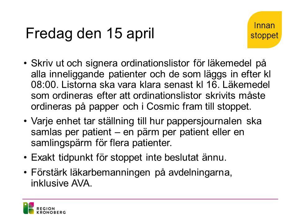 Fredag den 15 april Skriv ut och signera ordinationslistor för läkemedel på alla inneliggande patienter och de som läggs in efter kl 08:00.