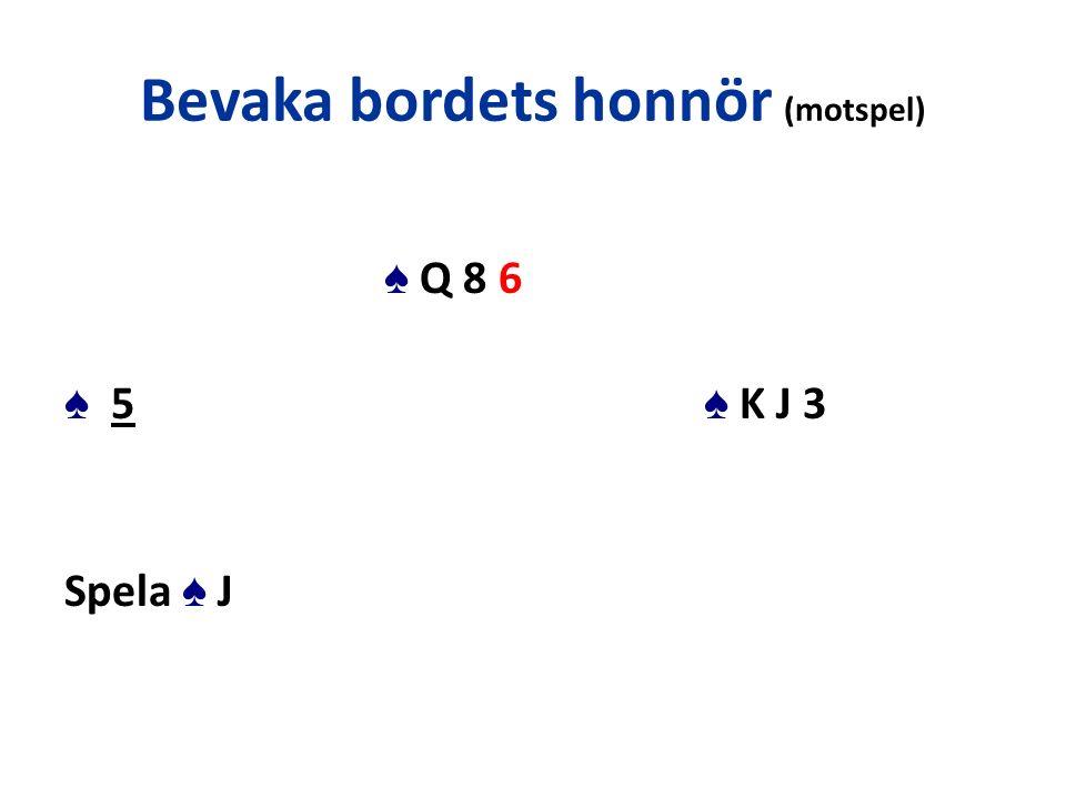 Bevaka bordets honnör (motspel) ♠ Q 8 6 ♠ 5 ♠ K J 3 Spela ♠ J