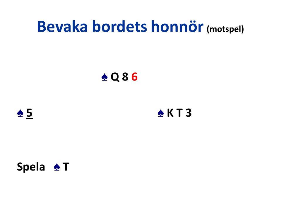 Bevaka bordets honnör (motspel) ♠ Q 8 6 ♠ 5 ♠ K T 3 Spela ♠ T
