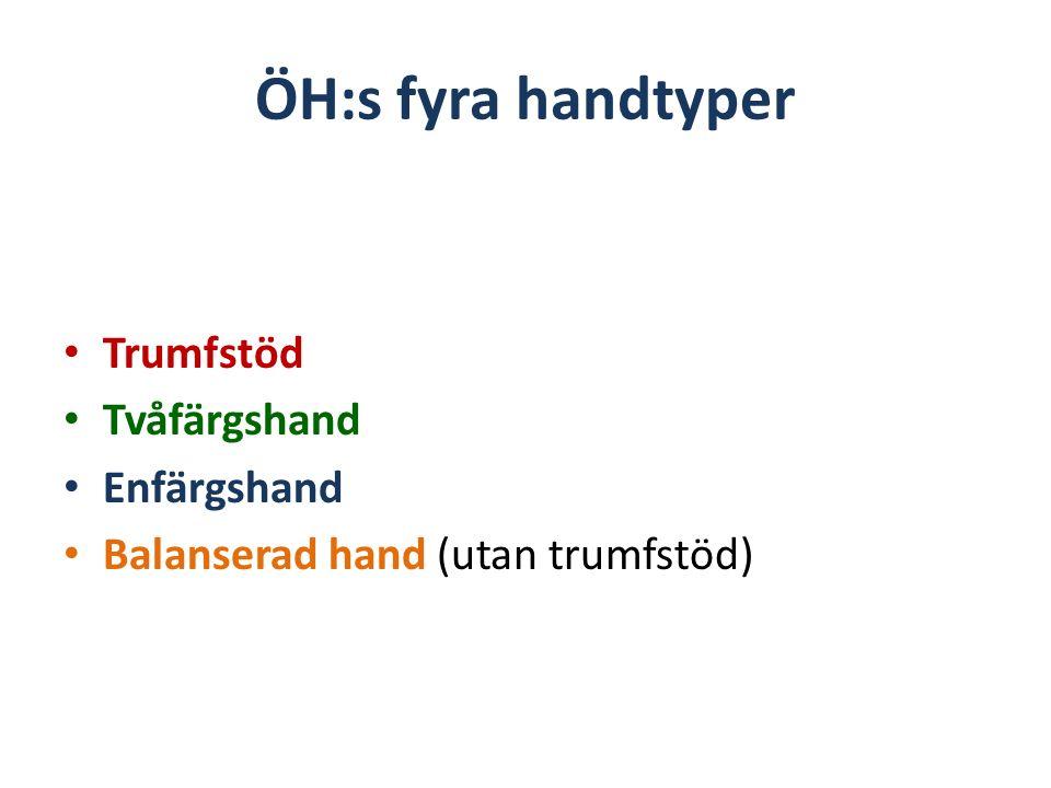 ÖH:s fyra handtyper Trumfstöd Tvåfärgshand Enfärgshand Balanserad hand (utan trumfstöd)