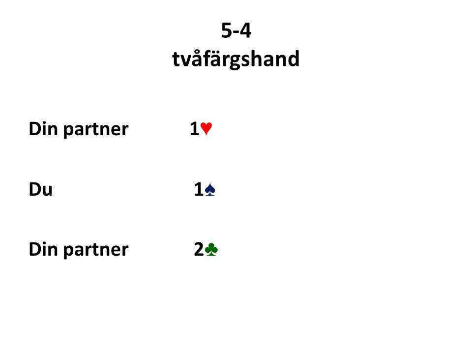 5-4 tvåfärgshand Din partner 1 ♥ Du 1 ♠ Din partner 2 ♣