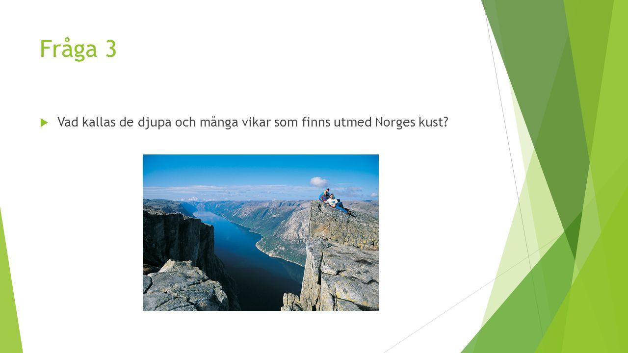 Fråga 3  Vad kallas de djupa och många vikar som finns utmed Norges kust