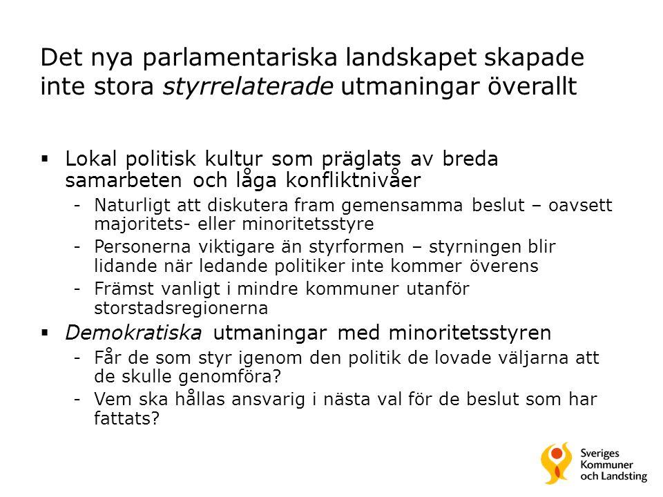 Det nya parlamentariska landskapet skapade inte stora styrrelaterade utmaningar överallt  Lokal politisk kultur som präglats av breda samarbeten och