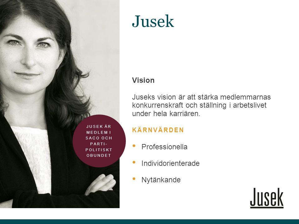 Vision Juseks vision är att stärka medlemmarnas konkurrenskraft och ställning i arbetslivet under hela karriären. KÄRNVÄRDEN Professionella Individori