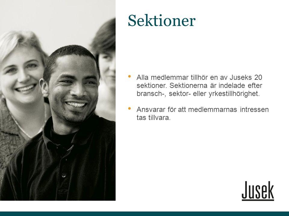 Alla medlemmar tillhör en av Juseks 20 sektioner. Sektionerna är indelade efter bransch-, sektor- eller yrkestillhörighet. Ansvarar för att medlemmarn