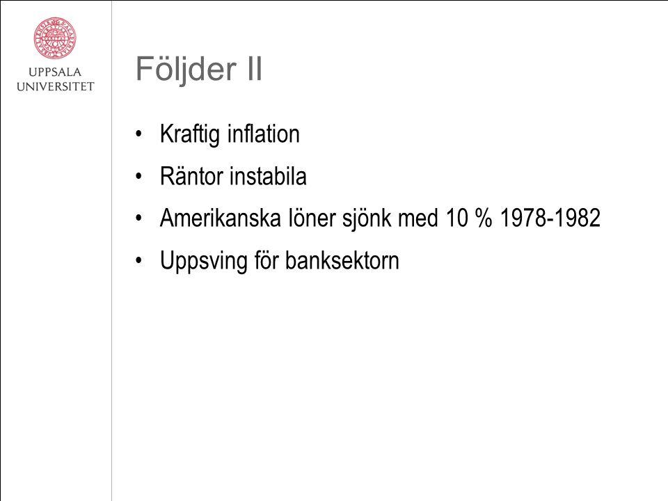 Följder II Kraftig inflation Räntor instabila Amerikanska löner sjönk med 10 % 1978-1982 Uppsving för banksektorn