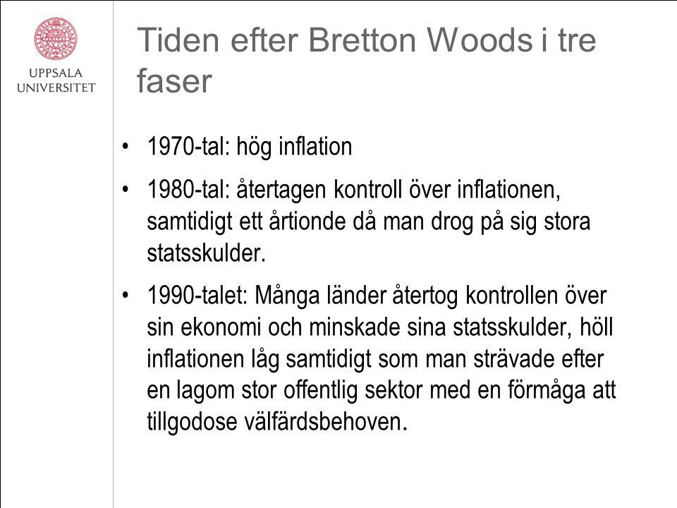 Tiden efter Bretton Woods i tre faser 1970-tal: hög inflation 1980-tal: återtagen kontroll över inflationen, samtidigt ett årtionde då man drog på sig