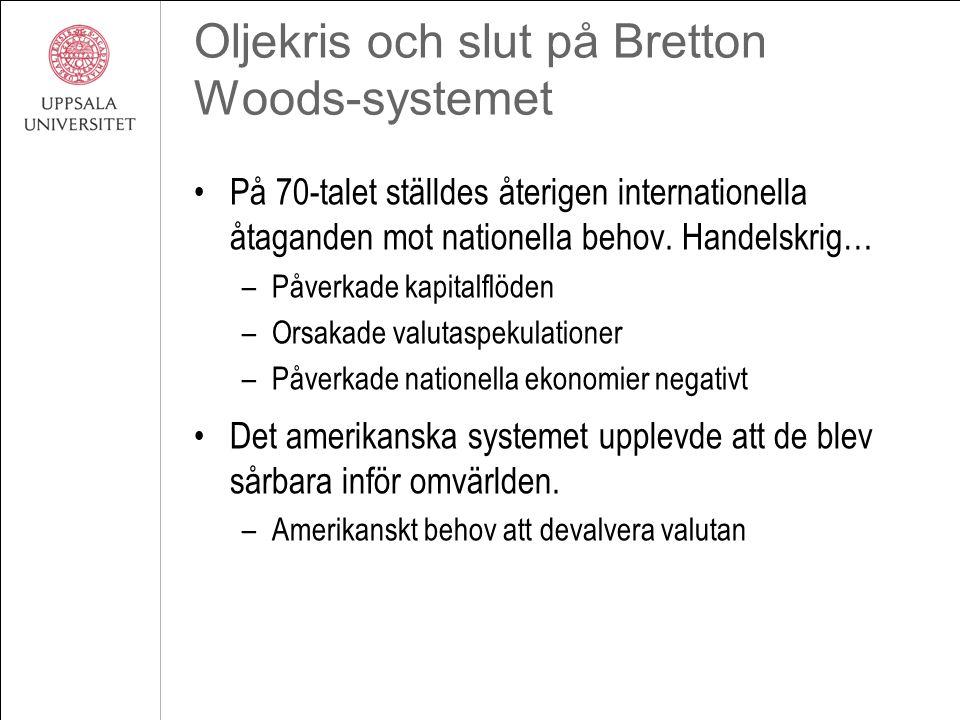 Oljekris och slut på Bretton Woods-systemet På 70-talet ställdes återigen internationella åtaganden mot nationella behov. Handelskrig… –Påverkade kapi