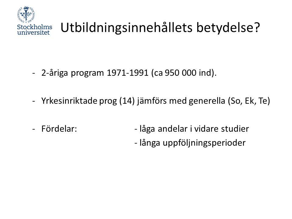 Utbildningsinnehållets betydelse. -2-åriga program 1971-1991 (ca 950 000 ind).