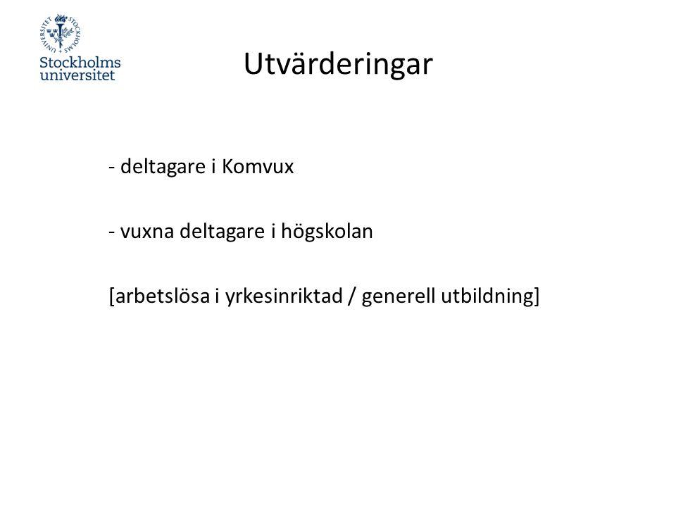 Utvärderingar - deltagare i Komvux - vuxna deltagare i högskolan [arbetslösa i yrkesinriktad / generell utbildning]