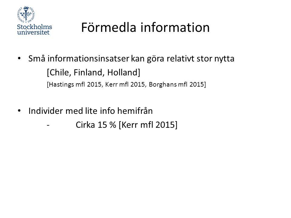 Förmedla information Små informationsinsatser kan göra relativt stor nytta [Chile, Finland, Holland] [Hastings mfl 2015, Kerr mfl 2015, Borghans mfl 2015] Individer med lite info hemifrån -Cirka 15 % [Kerr mfl 2015]