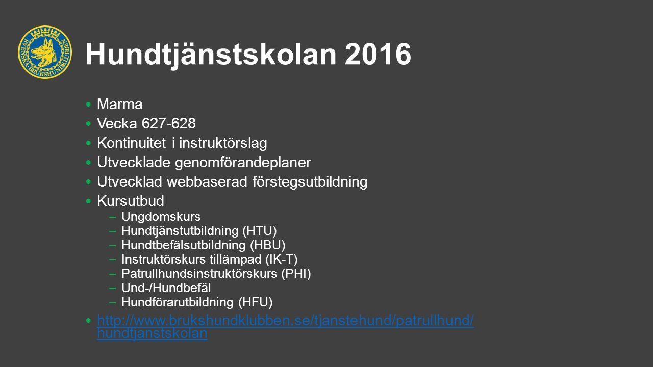 Hundtjänstskolan 2016 Marma Vecka 627-628 Kontinuitet i instruktörslag Utvecklade genomförandeplaner Utvecklad webbaserad förstegsutbildning Kursutbud