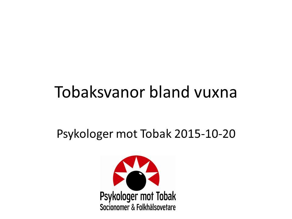 Tobaksvanor bland vuxna Psykologer mot Tobak 2015-10-20