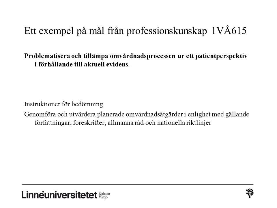 Ett exempel på mål från professionskunskap 1VÅ615 Problematisera och tillämpa omvårdnadsprocessen ur ett patientperspektiv i förhållande till aktuell evidens.