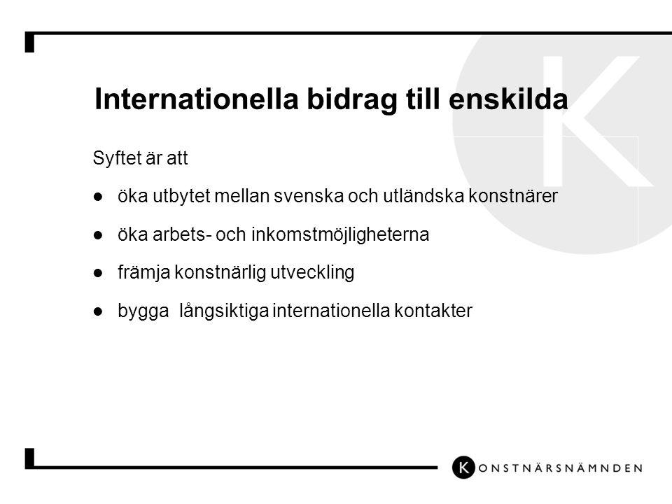 Internationella bidrag till enskilda Syftet är att öka utbytet mellan svenska och utländska konstnärer öka arbets- och inkomstmöjligheterna främja konstnärlig utveckling bygga långsiktiga internationella kontakter