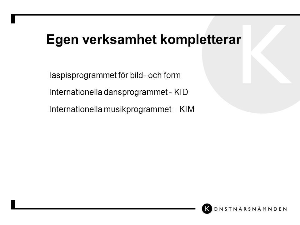 Egen verksamhet kompletterar Iaspisprogrammet för bild- och form Internationella dansprogrammet - KID Internationella musikprogrammet – KIM