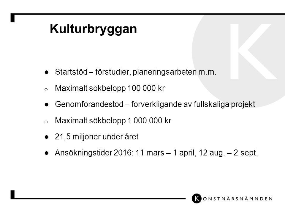Kulturbryggan Startstöd – förstudier, planeringsarbeten m.m.