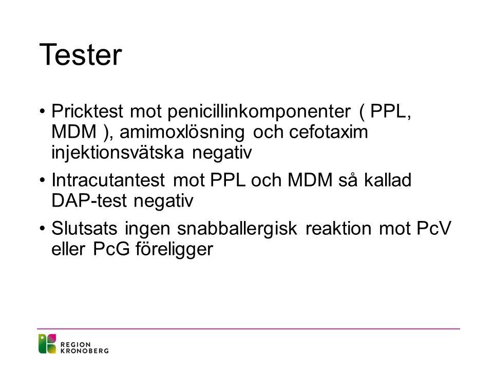 Tester Pricktest mot penicillinkomponenter ( PPL, MDM ), amimoxlösning och cefotaxim injektionsvätska negativ Intracutantest mot PPL och MDM så kallad DAP-test negativ Slutsats ingen snabballergisk reaktion mot PcV eller PcG föreligger