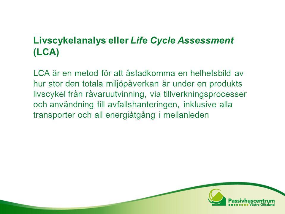 Livscykelanalys eller Life Cycle Assessment (LCA) LCA är en metod för att åstadkomma en helhetsbild av hur stor den totala miljöpåverkan är under en produkts livscykel från råvaruutvinning, via tillverkningsprocesser och användning till avfallshanteringen, inklusive alla transporter och all energiåtgång i mellanleden