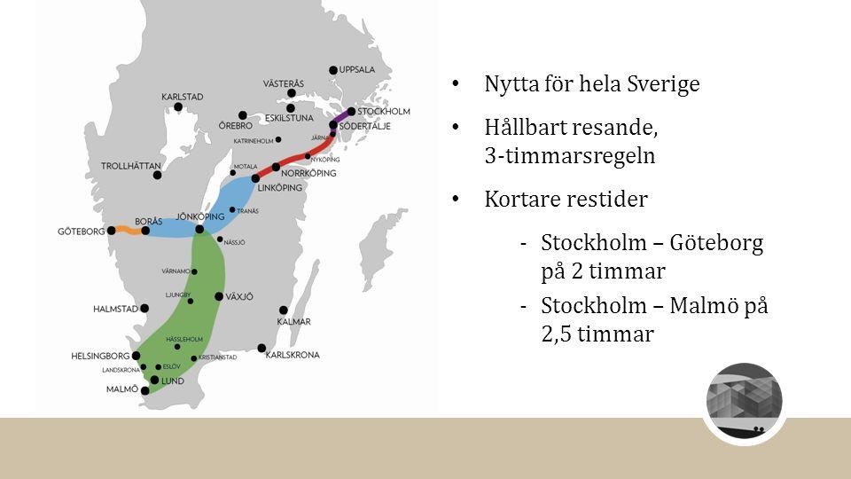 Nytta för hela Sverige Hållbart resande, 3-timmarsregeln Kortare restider ‐Stockholm – Göteborg på 2 timmar ‐Stockholm – Malmö på 2,5 timmar
