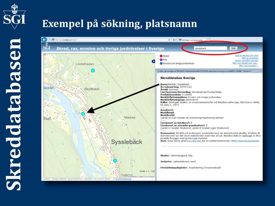 Skreddatabasen Exempel på sökning, platsnamn