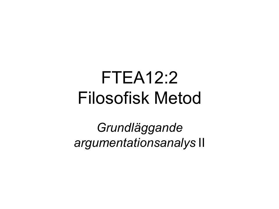 FTEA12:2 Filosofisk Metod Grundläggande argumentationsanalys II