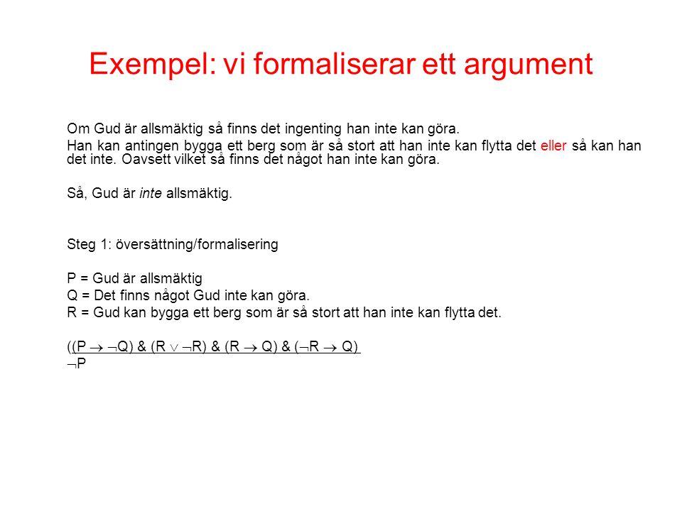 Exempel: vi formaliserar ett argument Om Gud är allsmäktig så finns det ingenting han inte kan göra.