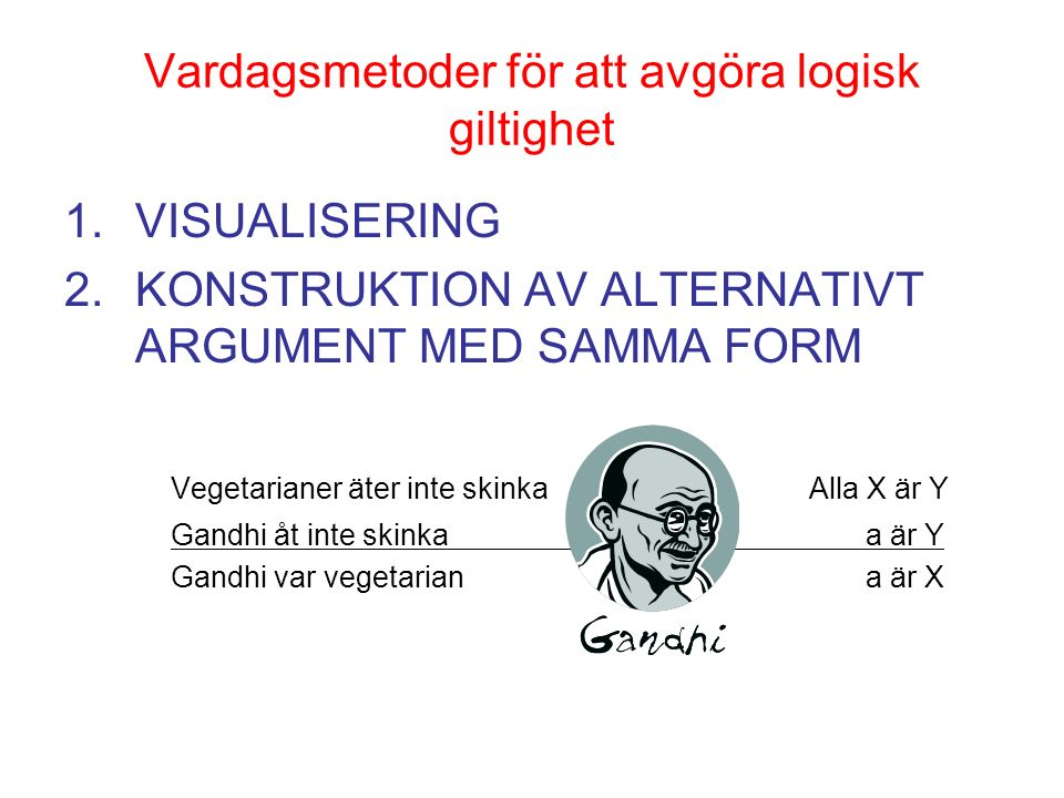 Vardagsmetoder för att avgöra logisk giltighet 1.VISUALISERING 2.KONSTRUKTION AV ALTERNATIVT ARGUMENT MED SAMMA FORM Vegetarianer äter inte skinkaAlla X är Y Gandhi åt inte skinka a är Y Gandhi var vegetarian a är X
