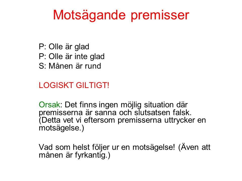 Trivial slutsats (P) Köpenhamn ligger i Finland (S) Alltså är Obama antingen tre meter lång eller inte tre meter lång.