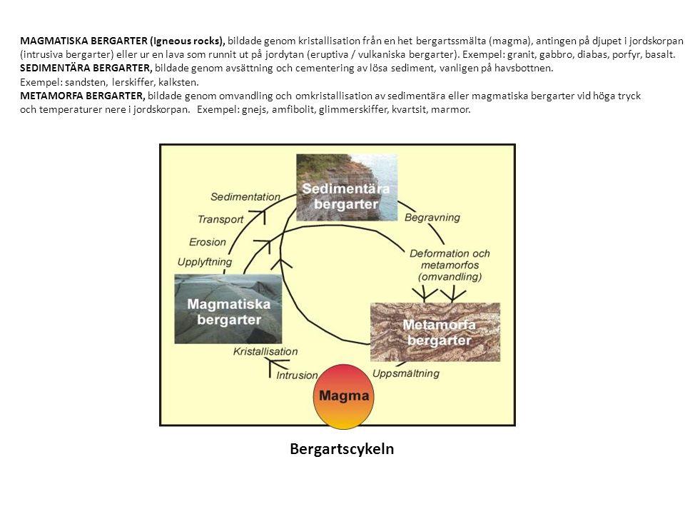 MAGMATISKA BERGARTER (Igneous rocks), bildade genom kristallisation från en het bergartssmälta (magma), antingen på djupet i jordskorpan (intrusiva bergarter) eller ur en lava som runnit ut på jordytan (eruptiva / vulkaniska bergarter).