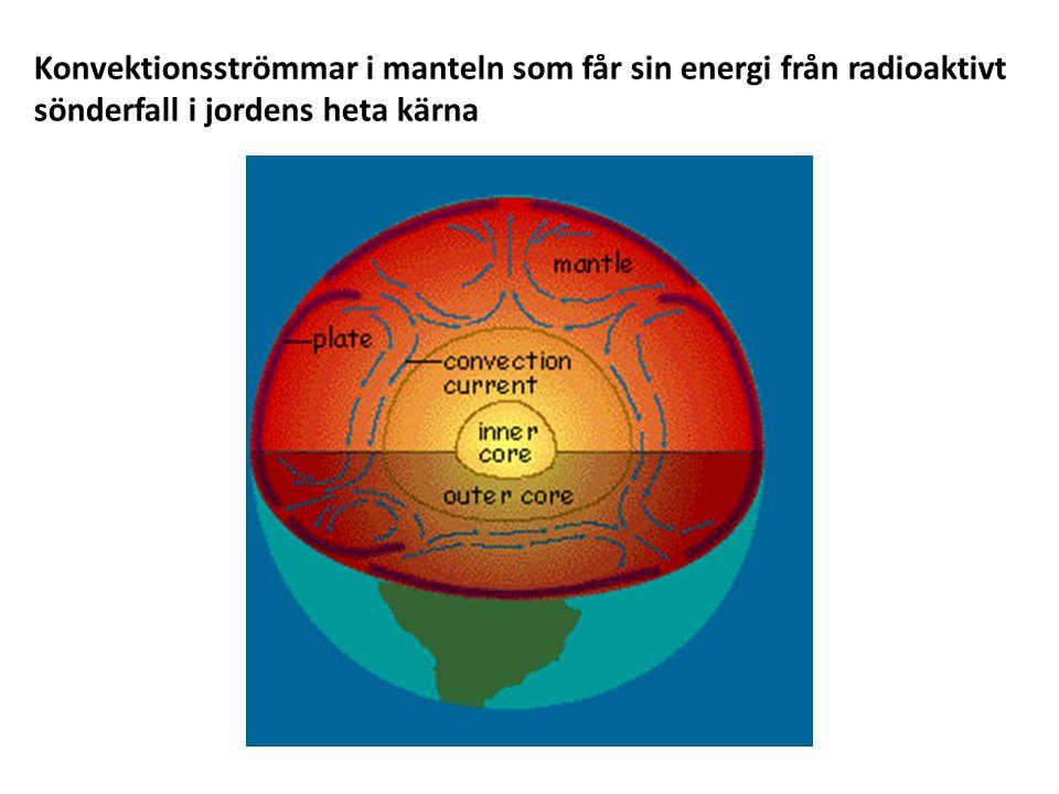 Konvektionsströmmar i manteln som får sin energi från radioaktivt sönderfall i jordens heta kärna