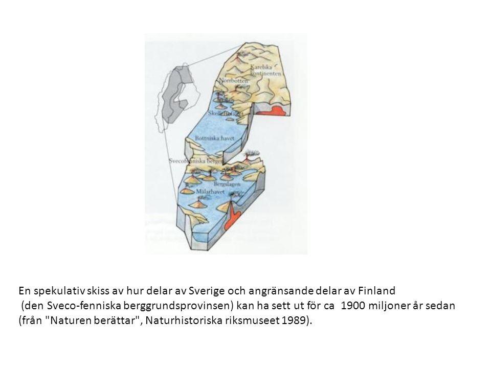 En spekulativ skiss av hur delar av Sverige och angränsande delar av Finland (den Sveco-fenniska berggrundsprovinsen) kan ha sett ut för ca 1900 miljoner år sedan (från Naturen berättar , Naturhistoriska riksmuseet 1989).