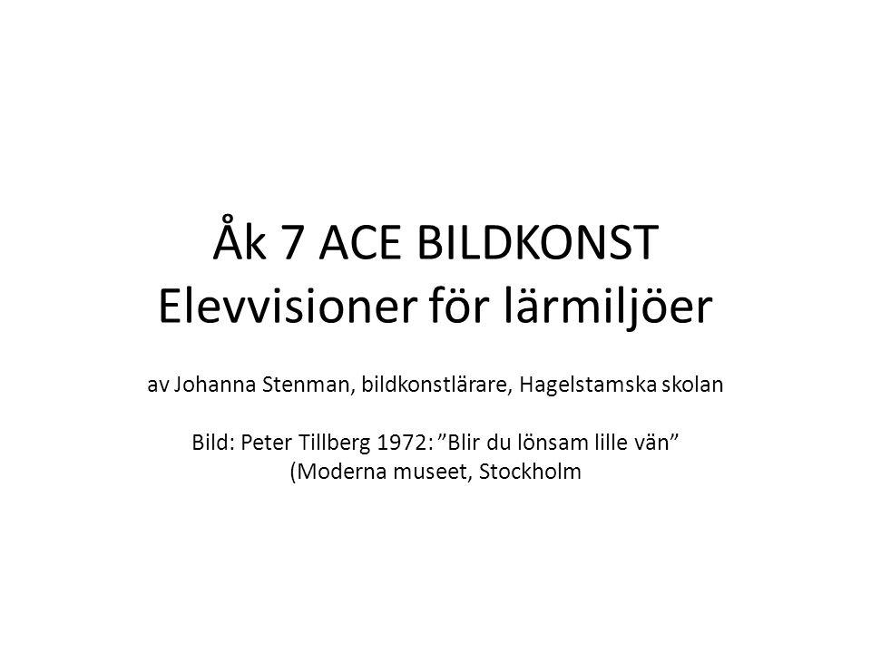 Åk 7 ACE BILDKONST Elevvisioner för lärmiljöer av Johanna Stenman, bildkonstlärare, Hagelstamska skolan Bild: Peter Tillberg 1972: Blir du lönsam lille vän (Moderna museet, Stockholm