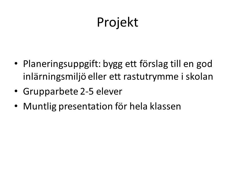 Projekt Planeringsuppgift: bygg ett förslag till en god inlärningsmiljö eller ett rastutrymme i skolan Grupparbete 2-5 elever Muntlig presentation för hela klassen