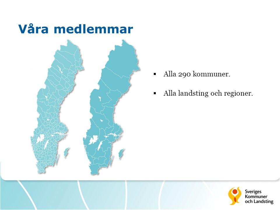 Våra medlemmar  Alla 290 kommuner.  Alla landsting och regioner.