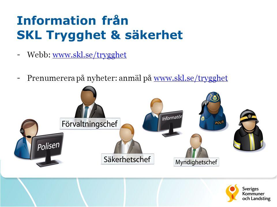 Information från SKL Trygghet & säkerhet - Webb: www.skl.se/trygghetwww.skl.se/trygghet - Prenumerera på nyheter: anmäl på www.skl.se/trygghetwww.skl.se/trygghet