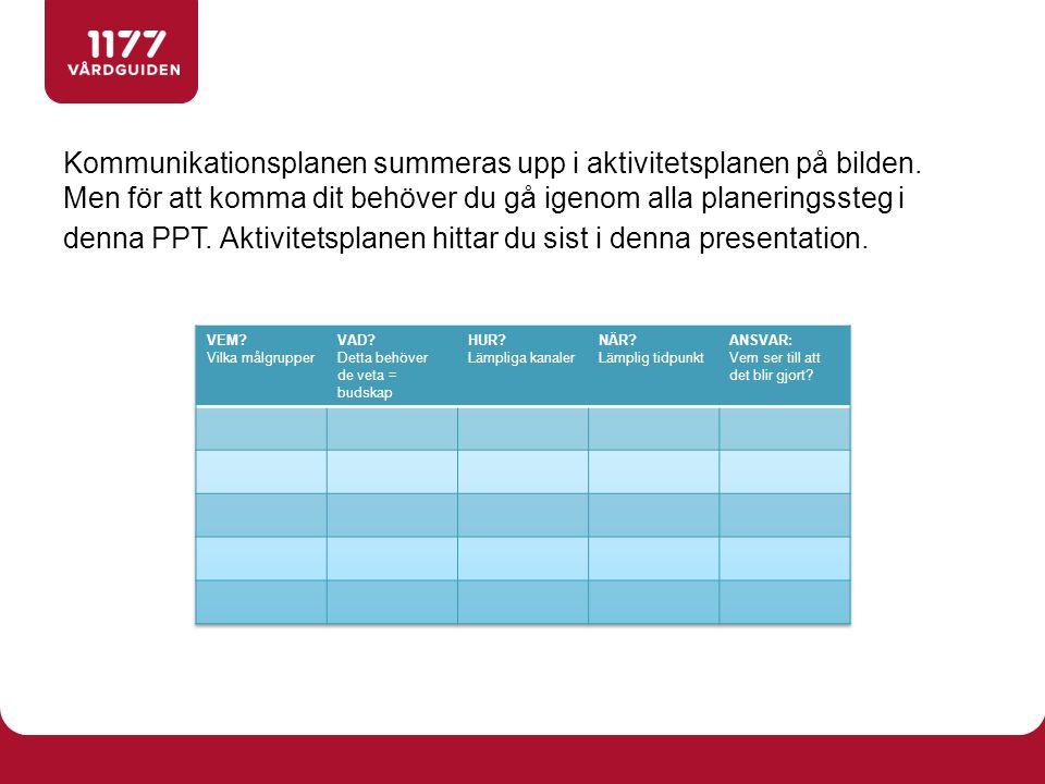 Kommunikationsplanen summeras upp i aktivitetsplanen på bilden.