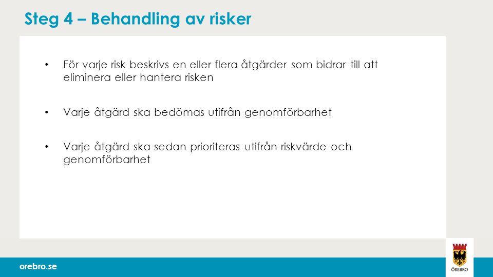 orebro.se Steg 4 – Behandling av risker För varje risk beskrivs en eller flera åtgärder som bidrar till att eliminera eller hantera risken Varje åtgärd ska bedömas utifrån genomförbarhet Varje åtgärd ska sedan prioriteras utifrån riskvärde och genomförbarhet