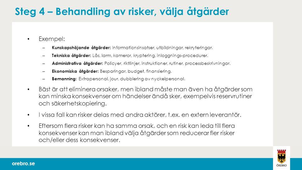 orebro.se Steg 4 – Behandling av risker, välja åtgärder Exempel: – Kunskapshöjande åtgärder: Informationsinsatser, utbildningar, rekryteringar.