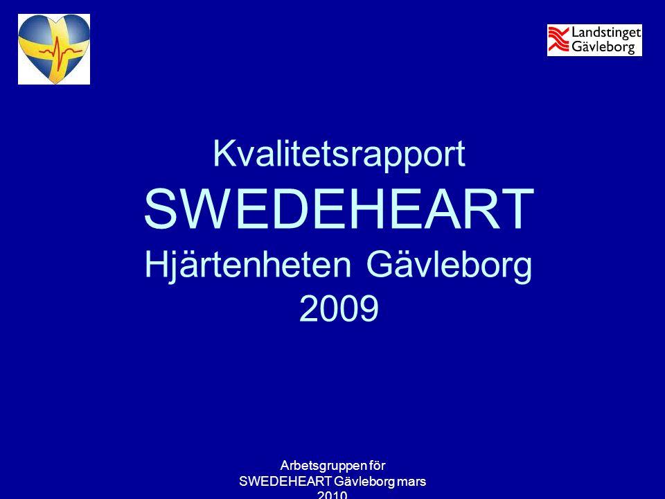 Arbetsgruppen för SWEDEHEART Gävleborg mars 2010 Blodfettsänkande läkemedel Hjärtenheten Gävleborg 2009